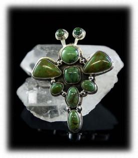 Green Manassa Turquoise Butterfly Pin