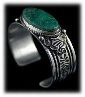 Navajo Handmade Silver Bracelet with Manassa Turquoise