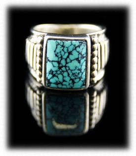 Mens Band Rings - Turquoise Saddle Ring