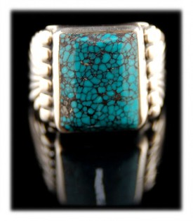 Tibetan Blue Spiderweb Turquoise Ring