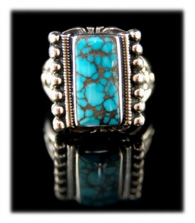 Mens Spiderweb Nevada Blue Turquoise Ring