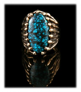 Pictured here is an example of a natural Blue Wind Turquoise Mens Ring in 14ky Gold by John Hartman of Durango, Colorado