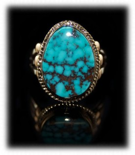 Gold and Silver - Gold Silver Mens Ring with Turquoise