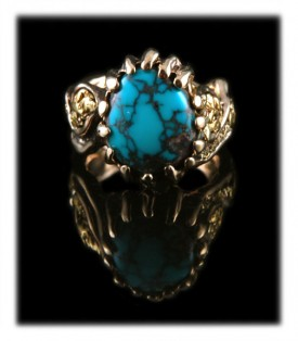 Take a look at this special Spiderweb Bisbee Turquoise Mens Gold Ring pictured here which is a one of a kind work of art by Durango Silver Company