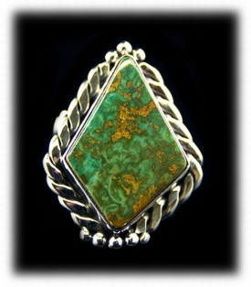 Mens Manassa Colorado Green Turquoise Silver Ring