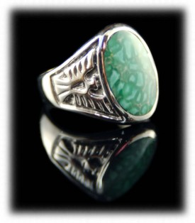 Mens Turquoise Inlay Native American Handmade Silver Rings