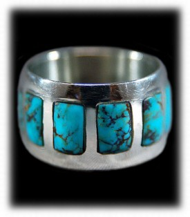 Inlay Mens Ring, Turquoise Inlay Mens Ring by Dillon Hartman