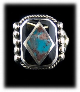 Mens Inlay Bisbee Turquoise Silver Ring