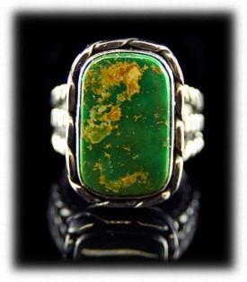Mens Turquoise Ring with Manassa Turquoise