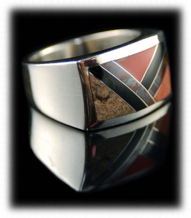 Inlay mens silver band ring