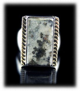 Sterling Silver Mens Ring with Silver Ore