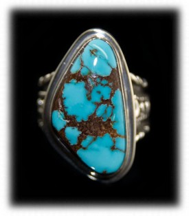 Mens Silver Ring with Blue Turquoise
