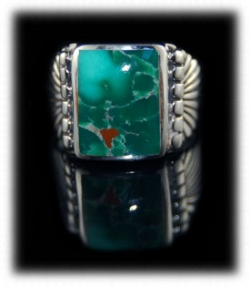 Mens Silver Ring with Green Turquoise