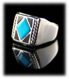 Mens Inlay Turquoise Silver Jewelry