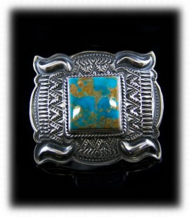 Mens Silver Jewelry - Silver Buckle with Turquoise