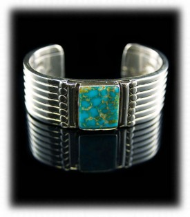 Mens Silver and Turquoise Bracelet
