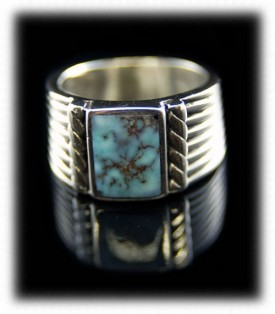 Mens Sterling Silver Rings - Turquoise and Silver