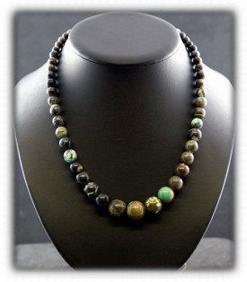 Mens Tortoise Turquoise Beaded Necklace