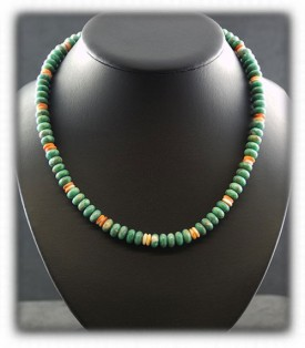 Mens Turquoise Beads, Green Turquoise Mens Beads, Mens Bead Necklace