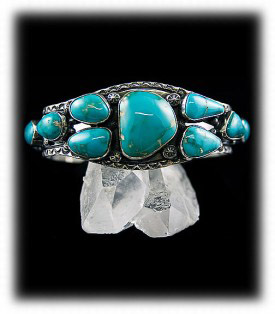 Navajo Cluster Mens Turquoise Bracelet