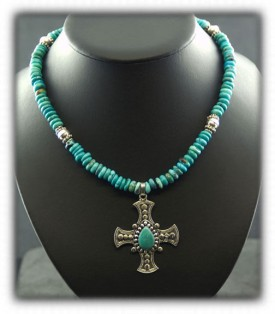 Mens Cross Necklace on Turquoise Beads
