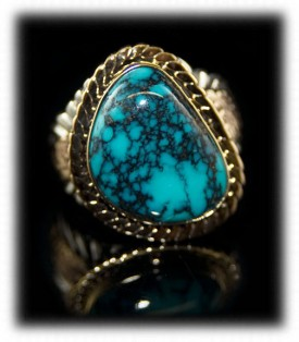 Spiderweb Mens Turquoise Ring