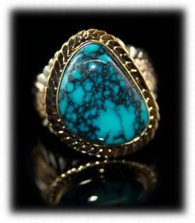 Spiderweb Mens Turquoise Ring