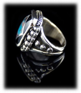 Handmade Sterling Silver, Black Onyx and Bisbee Inlay Turquoise Ring
