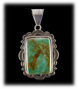 Mens Green Turquoise Necklace Pendant