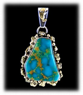 Blue Turquoise Mens Pendant - Mens Turquoise and Gold Nugget Necklace