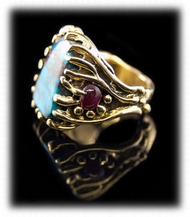 Side View - Natural Mens Turquoise Ring with Bisbee and Burmese Rubies in 14k yellow gold