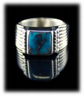 Natural Bisbee Turquoise Mens Rings with Rubiies in Gold