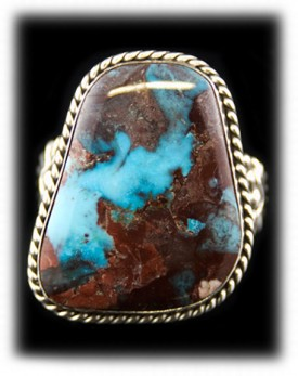 Large handmade Sterling Silver Mens Turquoise Ring by John Hartman with high grade Arizona Turquoise from the Copper Queen Mine in Bisbee, Arizona USA