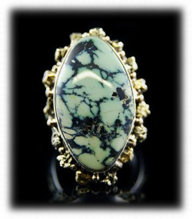 Tortoise Turquoise Mens Ring with Gold Nuggets