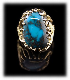 Mens Gold Turquoise Ring, Mens Turquoise Gold Ring