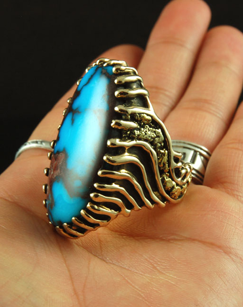 Men's Gold Turquoise Rings