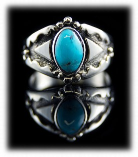 Mens Turquoise Ring - Saddle Design