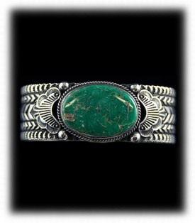 Mens Stamped Silver Bracelet - Native American Mens Silver Jewelry