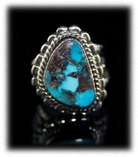Handmade Sterling Silver and Turquoise Mens Ring - Natural Bisbee Turquoise