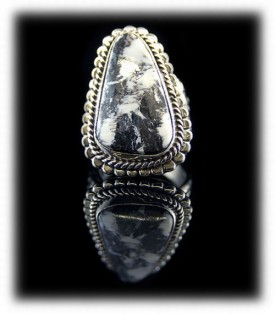 White Buffalo Turquoise Mens Ring