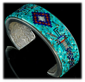 Micro Inlay Native American Turquoise Jewelry