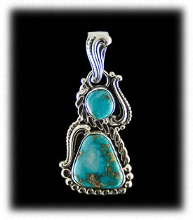 Morenci Turquoise Necklace - Silver Pendant