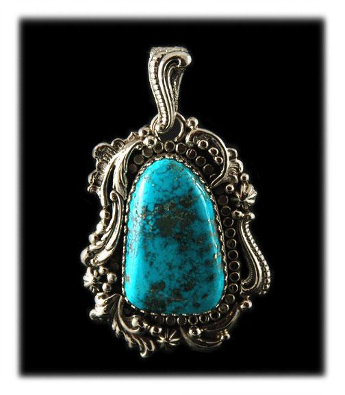 Morenci Turquoise Pendant - Native American Silver Pendant