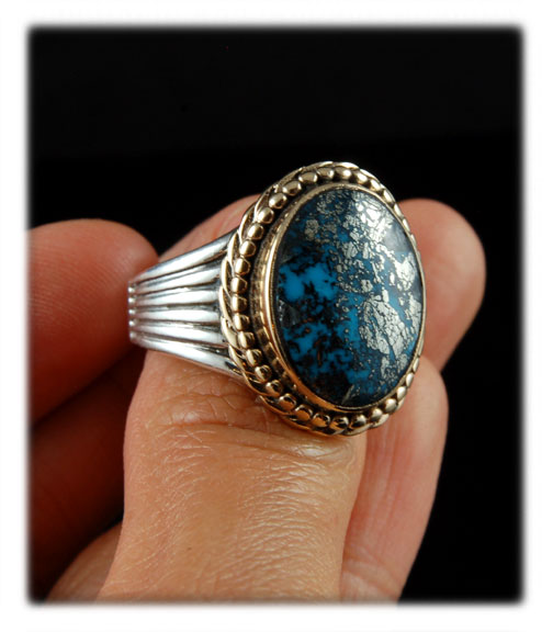 Handmade Sterling Silver and 14k Gold ring by John Hartman with Natural high grade Morenci Turquoise from Arizona