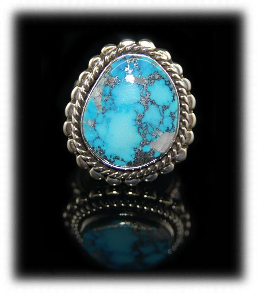 Natural Morenci Turquoise in a handmade Sterling Silver ring by John Hartman