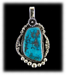 Morenci Turquoise Pendant - Native American Handcrafted
