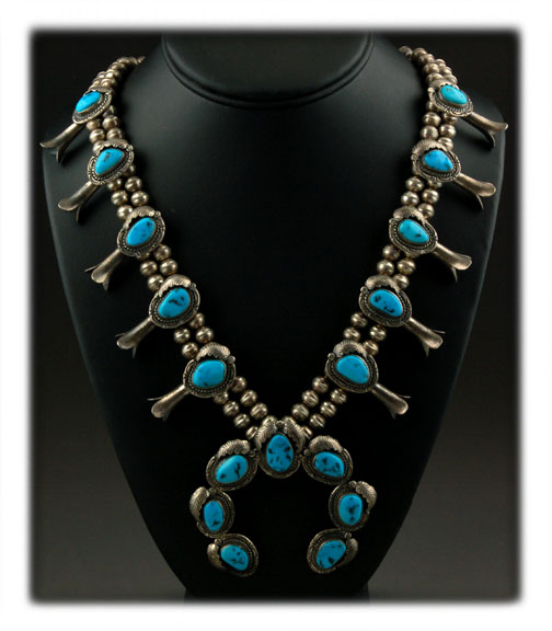 Vintage high end Sterling Silver and Morenci Turquoise squash blossom necklace - Native American made