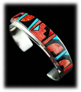 Native American Inlaid Silver Bracelet by Edison Yazzie