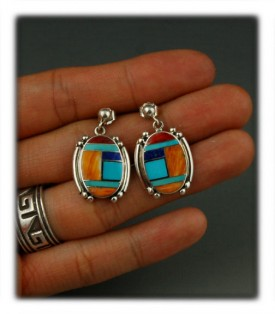 multi color inlay dangle earrings