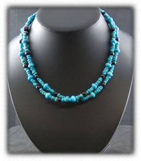 Black Onyx and Turquoise Beaded Necklace